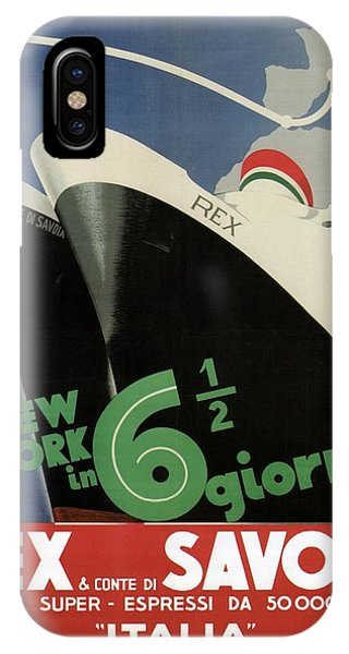 Rex, Conte Di Savoia - Italian Ocean Liners To New York - Vintage Travel Advertising Posters IPhone Case