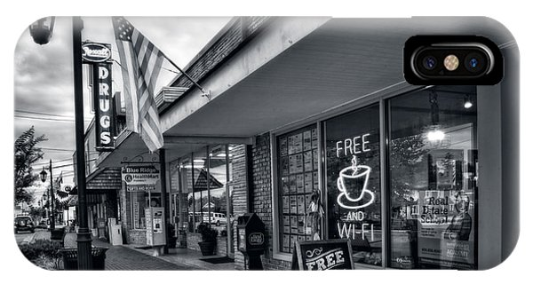 Rexall Sidewalk In Black And White IPhone Case