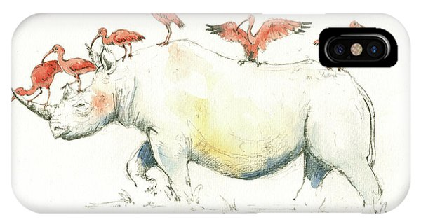 Ibis iPhone Case - Rhino And Ibis by Juan Bosco