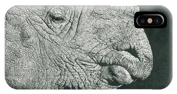 Rhino Pencil Drawing IPhone Case