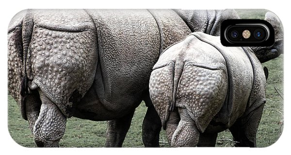 Rhinocerus iPhone Case - Rhinoceros Mother And Calf In Wild by Daniel Hagerman