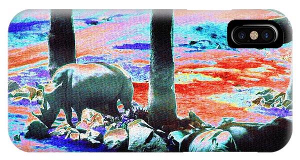 Rhinocerus iPhone Case - Rhinos Having A Picnic by Abstract Angel Artist Stephen K