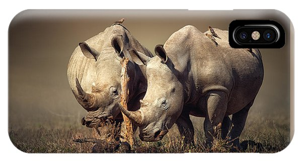 Safari iPhone Case - Rhino's With Birds by Johan Swanepoel