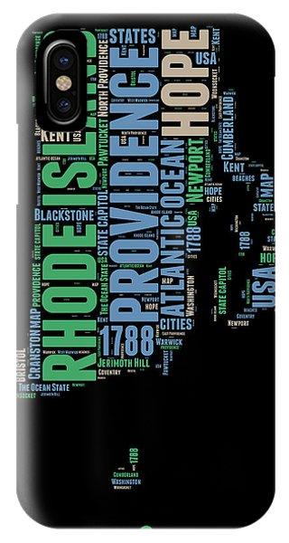 Typography iPhone Case - Rhode Island Word Cloud 2 by Naxart Studio