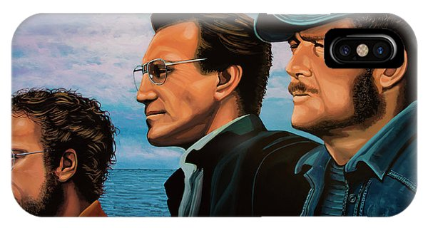 Waterscape iPhone Case - Jaws With Richard Dreyfuss, Roy Scheider And Robert Shaw by Paul Meijering