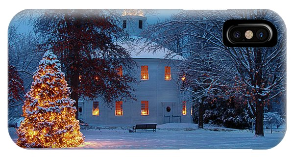 Richmond Vermont Round Church At Christmas IPhone Case
