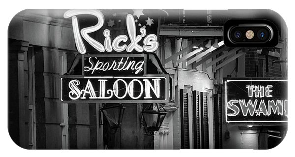 Ricks Sporting Saloon In Black And White IPhone Case