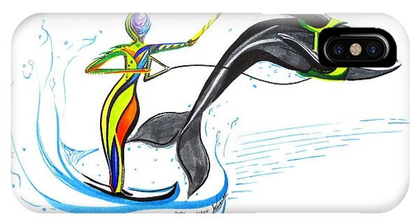Water Ski iPhone Case - Ride The Wave by Karen  Renee