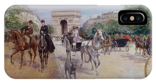 Riders And Carriages On The Avenue Du Bois IPhone Case