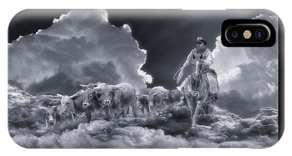 Riders In The Sky Bw IPhone Case