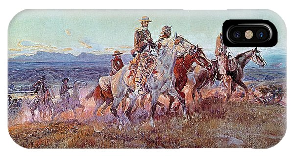Hills iPhone Case - Riders Of The Open Range by Charles Marion Russell