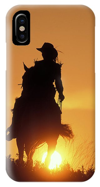 Riding Cowgirl Sunset IPhone Case