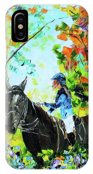 IPhone Case featuring the painting Riding In The Woods by Kevin Brown