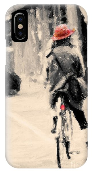 Riding My Bicycle In A Red Hat IPhone Case