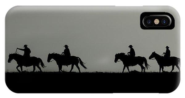 Riding The Range At Sunrise IPhone Case