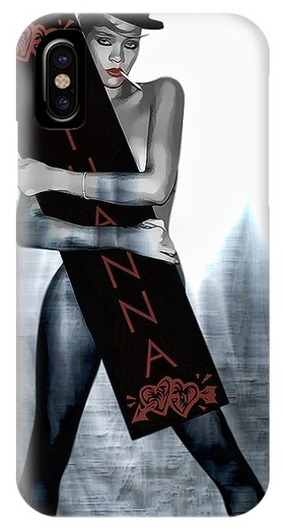 Rihanna iPhone Case - Rihanna Love Card By Gbs by Anibal Diaz