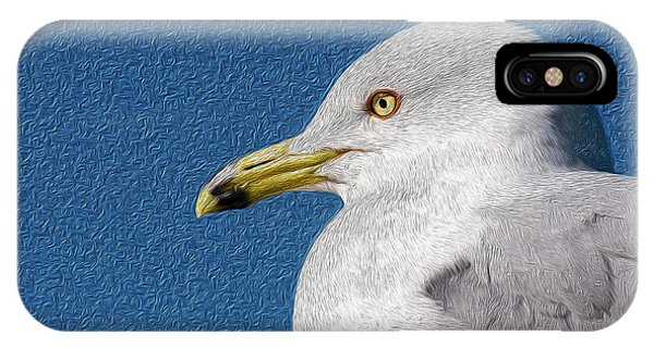IPhone Case featuring the mixed media Ring-billed Gull Oil Portrait by Onyonet  Photo Studios