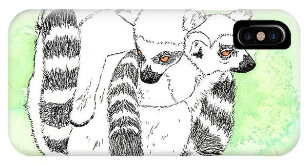 Ring-tailed Lemur iPhone Case - Ring-tailed Lemur Huddle by Michelle Wang