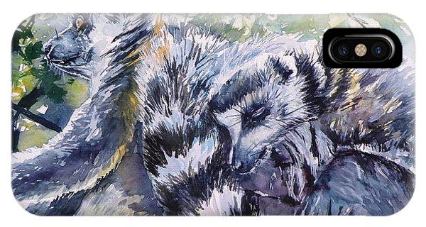 Ring-tailed Lemur iPhone Case - Ring-tailed Lemurs 13 by Kovacs Anna Brigitta