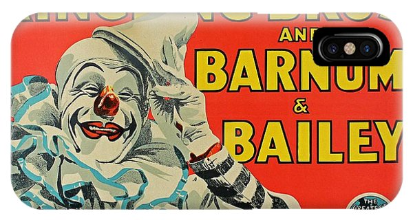 Barnum And Bailey iPhone Case - Ringling Brothers Clown Poster by Pd