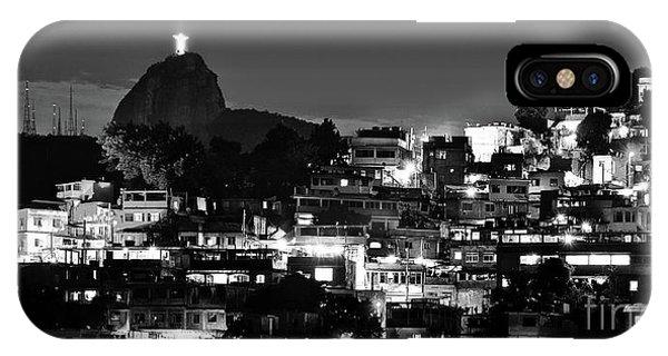 Rio De Janeiro - Christ The Redeemer On Corcovado, Mountains And Slums IPhone Case