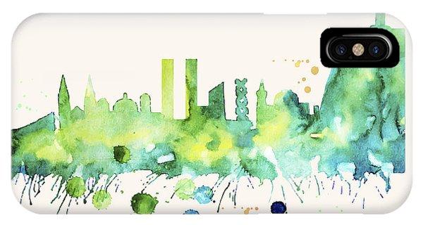 Rio De Janeiro Skyline Watercolor Poster - Cityscape Painting Artwork IPhone Case