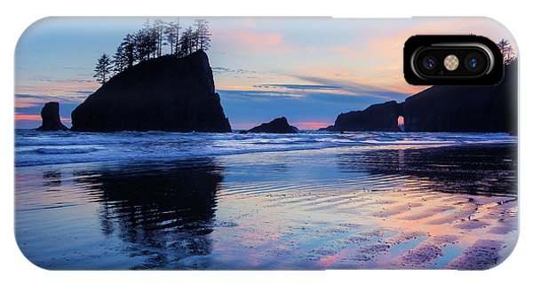 IPhone Case featuring the photograph Ripple Reflections Of Dusk At Second Beach by Expressive Landscapes Fine Art Photography by Thom