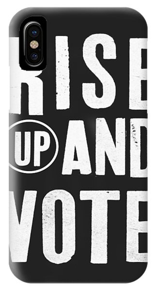 Election iPhone Case - Rise Up And Vote Black And White- Art By Linda Woods by Linda Woods
