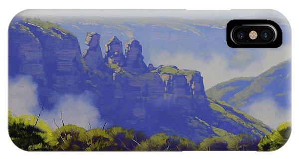 Sister iPhone Case - Rising Mist Three Sisters Australia by Graham Gercken