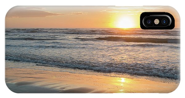 Rising Sun Reflecting On Wet Sand With Calm Ocean Waves In The B IPhone Case