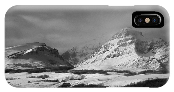 Rising Wolf Mountain- Winter - Black And White IPhone Case
