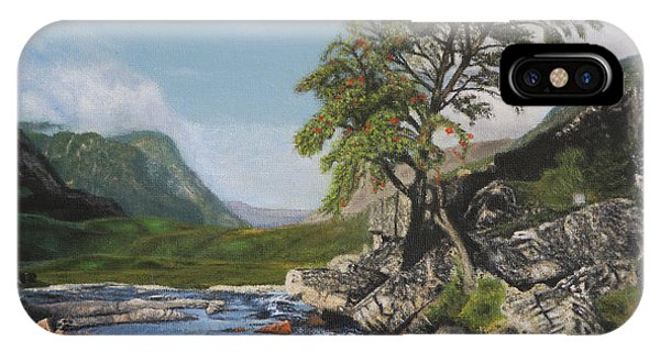 River Coe Scotland Oil On Canvas IPhone Case