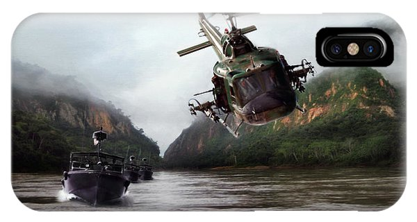 Helicopter iPhone X Case - River Patrol by Peter Chilelli