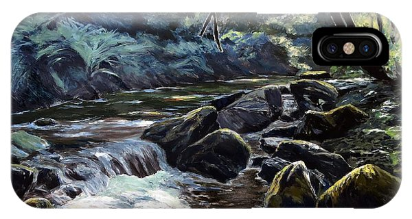 IPhone Case featuring the painting River Taw Sticklepath by Lawrence Dyer