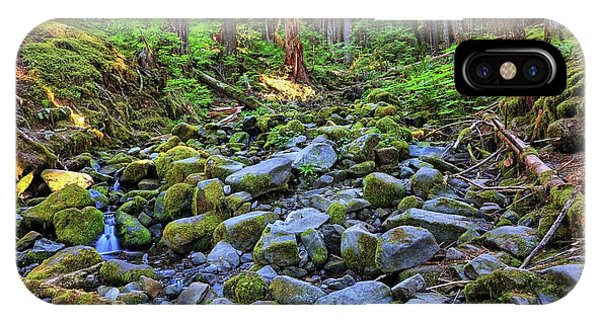 Riverbed Full Of Mossy Stones With Small Cascade IPhone Case