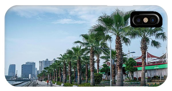 Riverside Promenade Park And Skyscrapers In Downtown Xiamen City IPhone Case