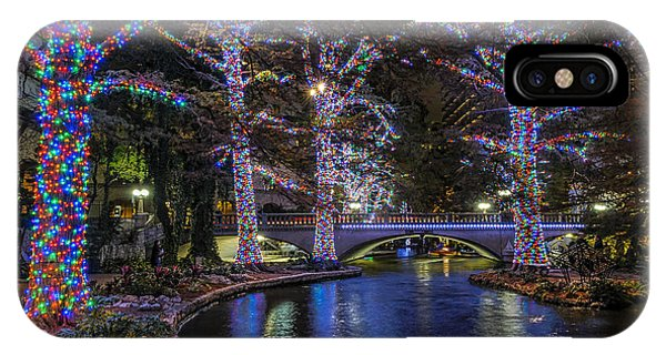 IPhone Case featuring the photograph Riverwalk Christmas by Steven Sparks