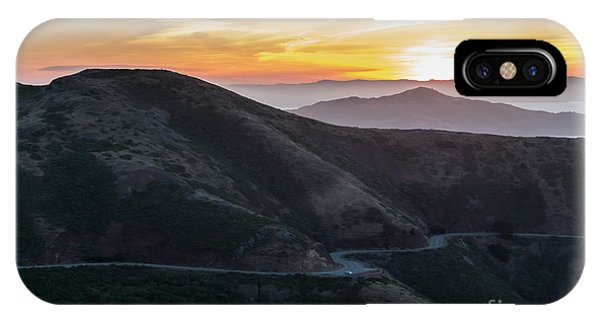 Road On The Edge Of The Mountain With Sunrise In The Background IPhone Case