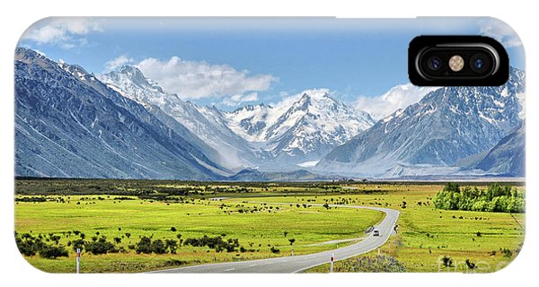 Snowy Road iPhone Case - Road To Aoraki by Delphimages Photo Creations