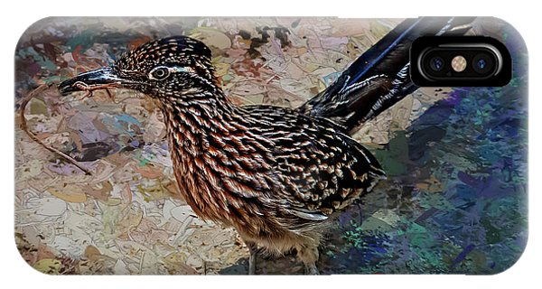 IPhone Case featuring the painting Roadrunner Making Nest by Penny Lisowski