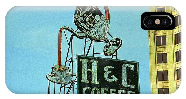 Bean Town iPhone Case - Roanoke, Va - H C Coffee Sign by Frank Romeo
