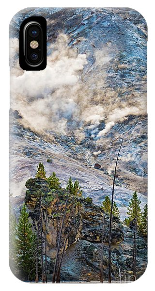 Yellowstone National Park iPhone Case - Roaring Mountain by Delphimages Photo Creations