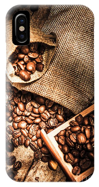 Roasted Coffee Beans In Drawer And Bags On Table IPhone Case