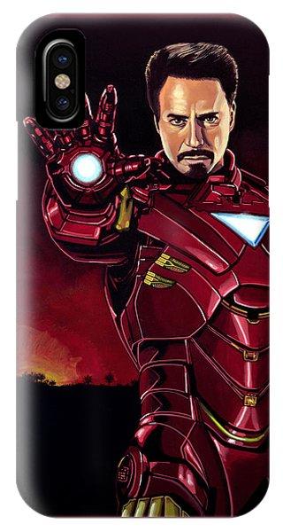 Industry iPhone Case - Robert Downey Jr. As Iron Man  by Paul Meijering