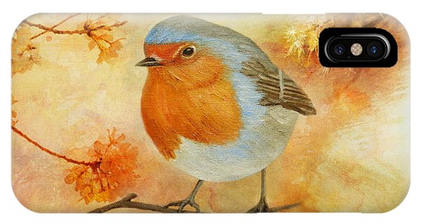 Robin Among Flowers IPhone Case