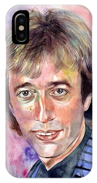 Bee iPhone Case - Robin Gibb Portrait Watercolor by Suzann's Art
