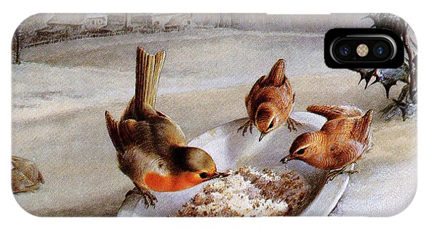 Barn Snow iPhone Case - Robins And Wrens  Winter Breakfast by Harry Bright