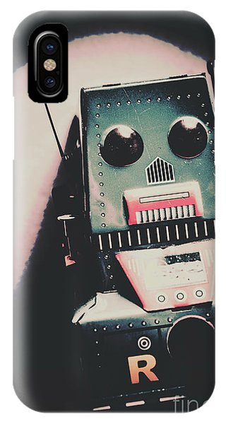 Past iPhone Case - Robotic Mech Under Vintage Spotlight by Jorgo Photography - Wall Art Gallery