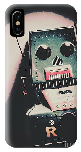 Metal iPhone Case - Robotic Mech Under Vintage Spotlight by Jorgo Photography - Wall Art Gallery