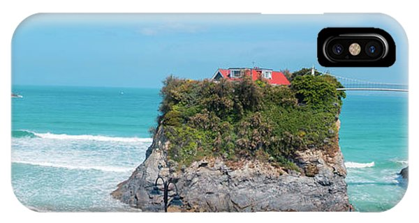 IPhone Case featuring the photograph Rock And Bridge, Newquay, Panorama by Ariadna De Raadt